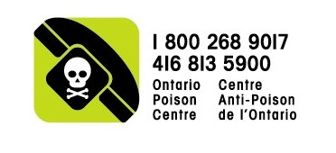 Ontario Poison Centre - 1-800-268-9017, or 416-813-5900