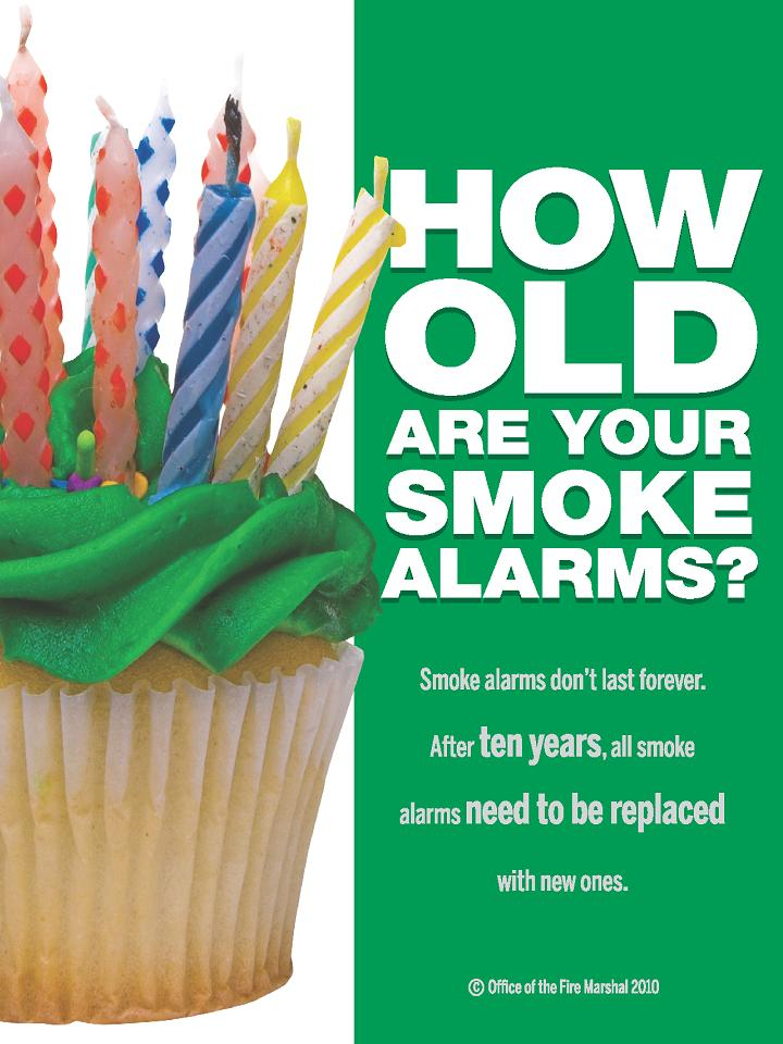 How old are your smoke alarms? Smoke alarms don't last forever. After ten years, all smoke alarms need to be replaced with new.