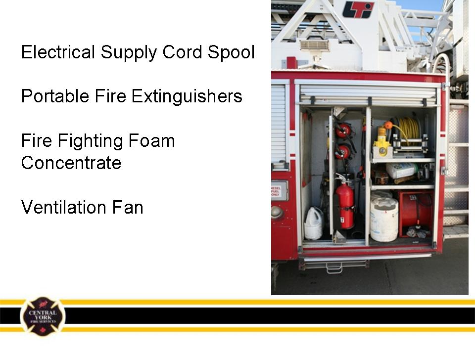 Electrical supply cord spool, fire extinguishers